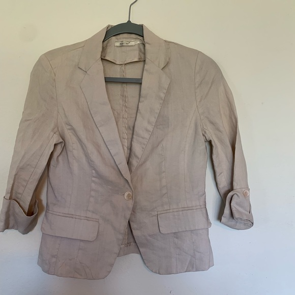 Poetry Jackets & Blazers - Poetry 100% Linen Tan Blazer Size Small One Button